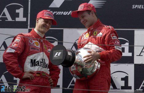 Michael Schumacher, Rubens Barrichello, Ferrari, A1-Ring, 2002