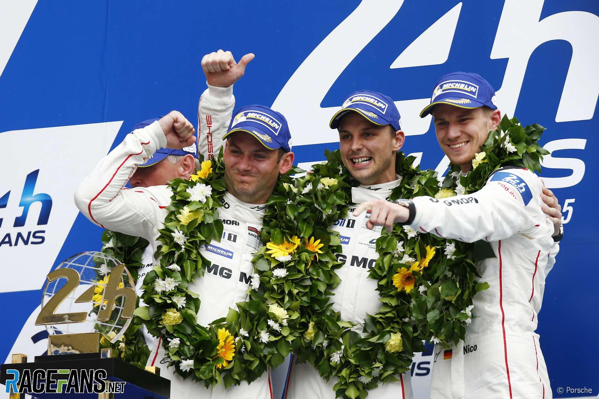 Nick Tandy, Earl Bamber and Nico Hulkenberg, Porsche, Le Mans, 2015
