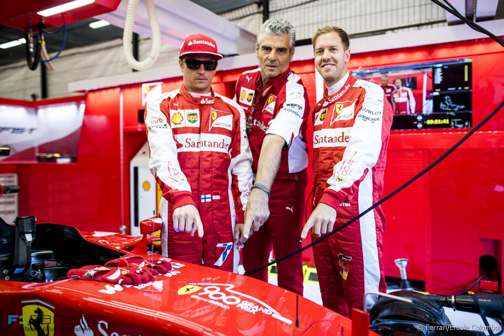Kimi Raikkonen, Maurizio Arrivabene, Sebastian Vettel, Ferrari, Spa-Francorchamps, 2015