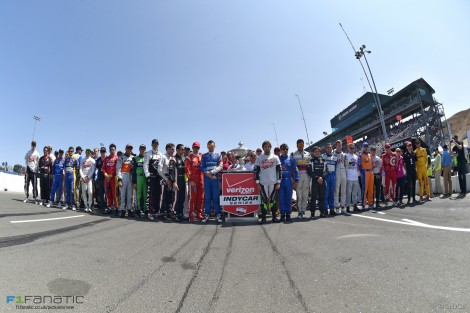 IndyCar drivers pay tribute to Justin Wilson, Sonoma, 2015