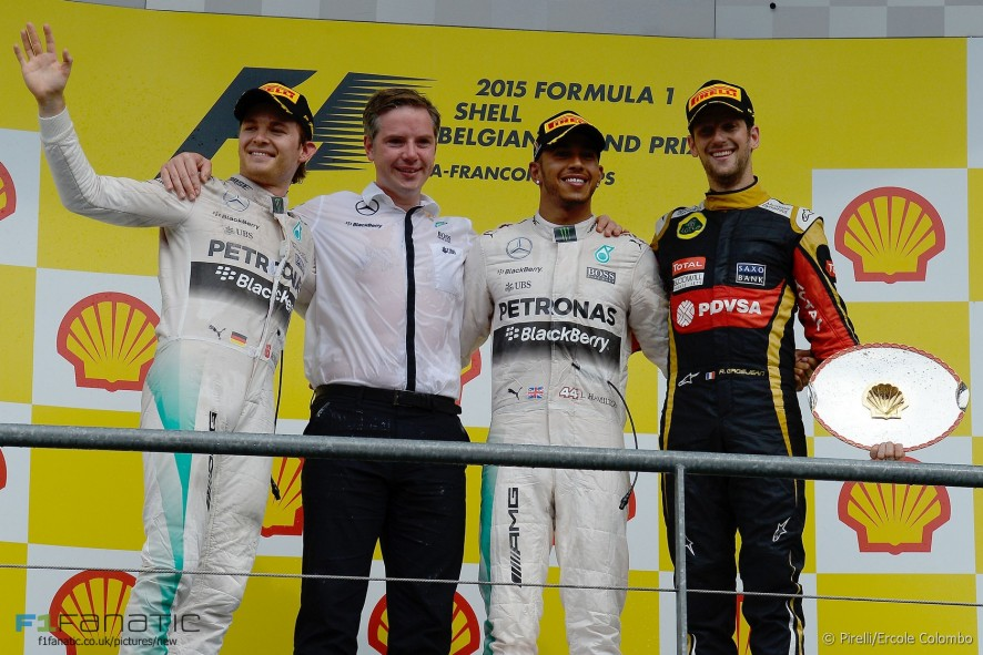 Nico Rosberg, Lewis Hamilton, Romain Grosjean, Spa-Francorchamps, 2015
