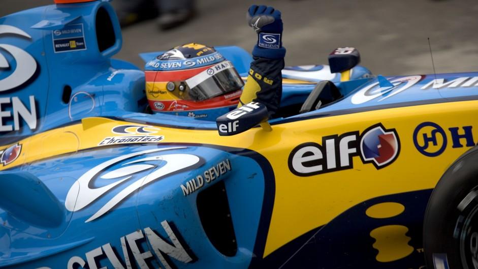 Fernando Alonso, Renault, Interlagos, 2005