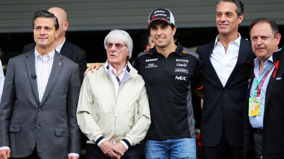 Enrique Pena Nieto, Bernie Ecclestone, Sergio Perez, Carlos Slim Domit, Autodromo Hermanos Rodriguez, 2015