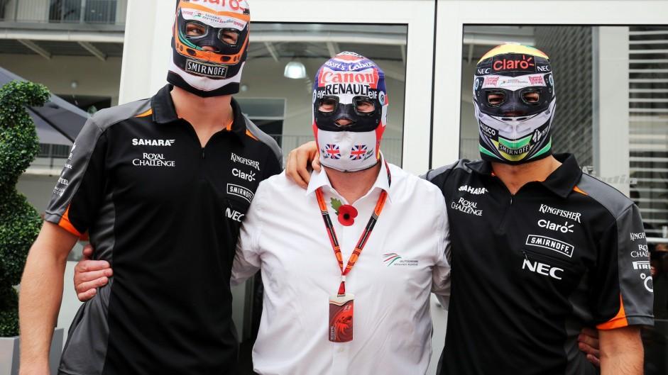 Nico Hulkenberg, Nigel Mansell, Sergio Perez, Force India, Autodromo Hermanos Rodriguez, 2015