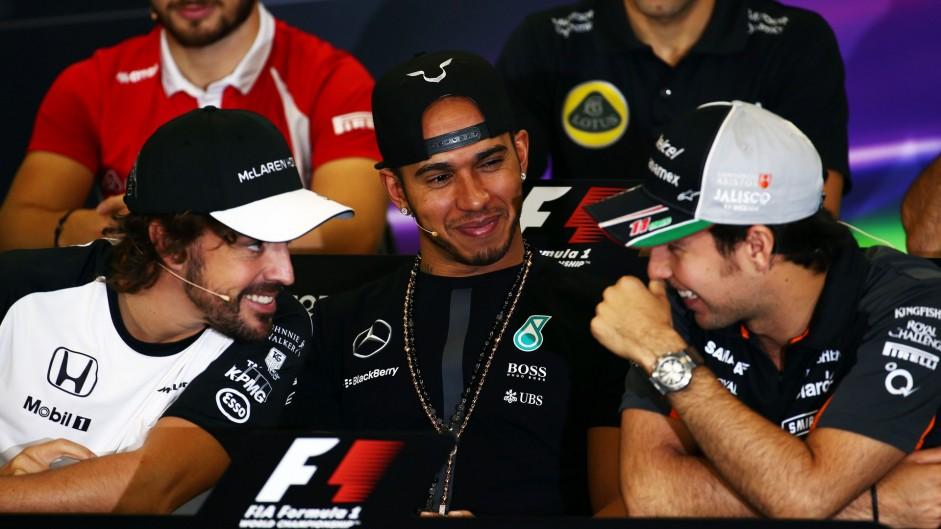 Fernando Alonso, Lewis Hamilton, Sergio Perez, Autodromo Hermanos Rodriguez, 2015