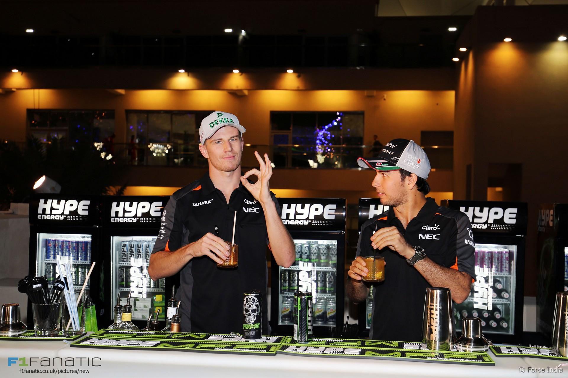 Nico Hulkenberg, Sergio Perez, Force India, Yas Marina, 2015
