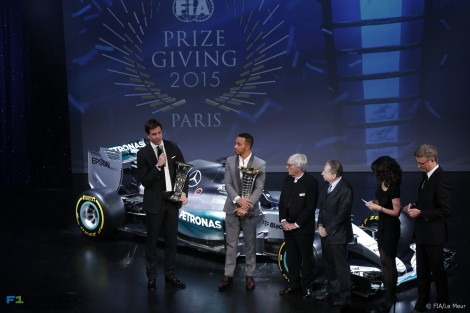 Lewis Hamilton, Toto Wolff, Jean Todt, Bernie Ecclestone, FIA Prize-Giving, 2015