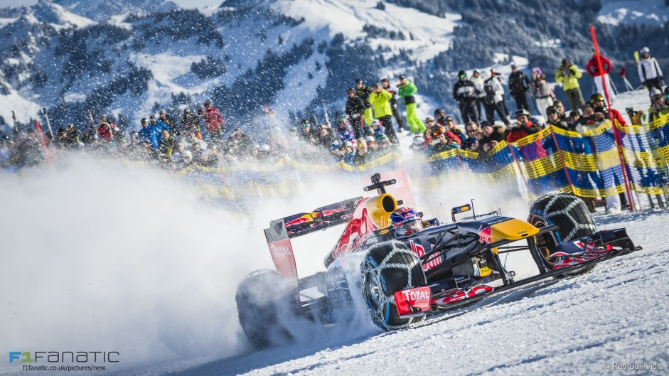 Verstappen takes to the ski slopes in a Red Bull RB7