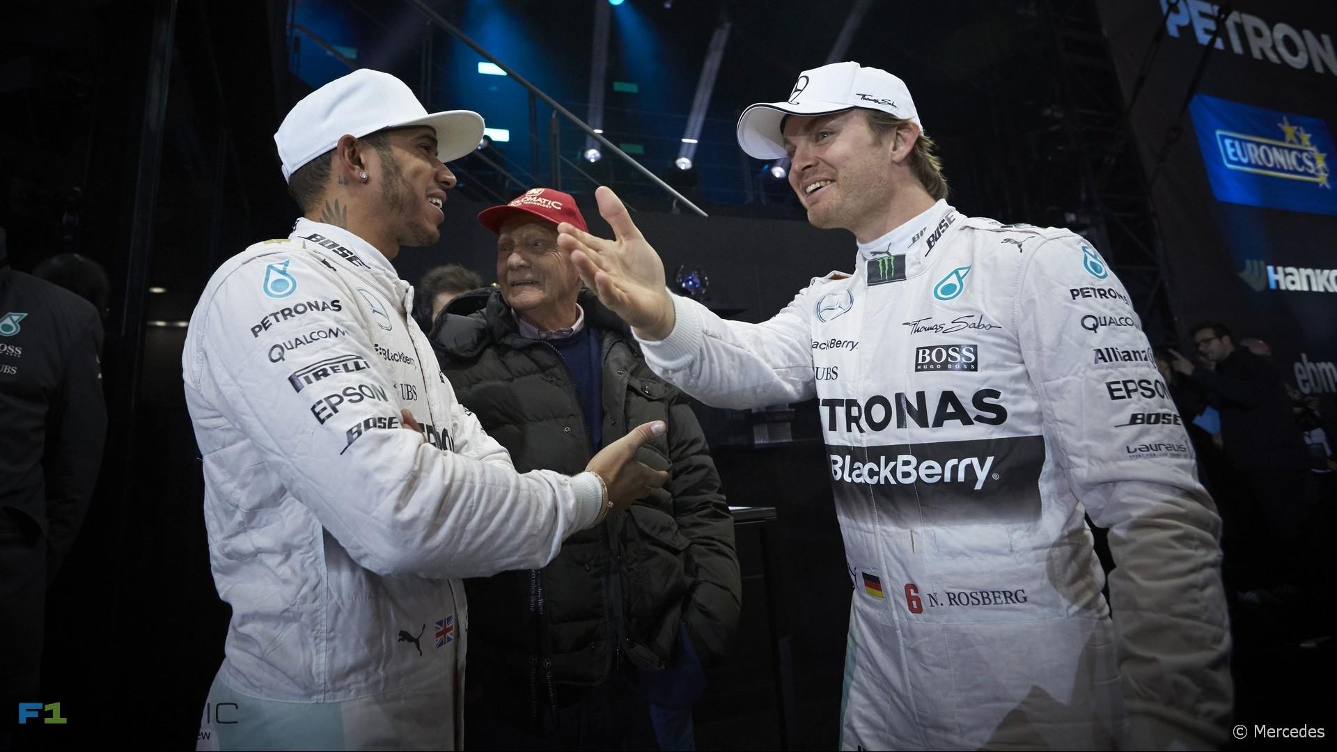 Lewis Hamilton, Niki Lauda, Nico Rosberg, Mercedes, 2015