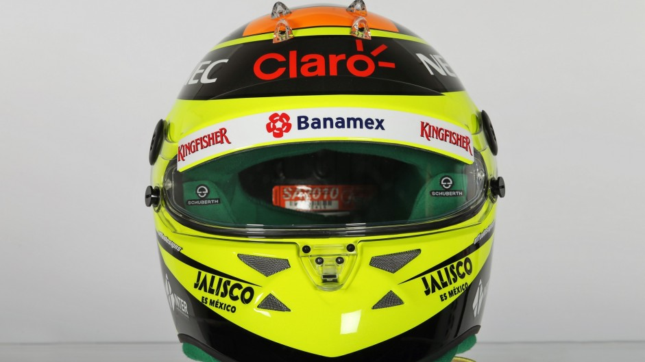 The helmet of Sergio Perez (MEX) Sahara Force India F1.