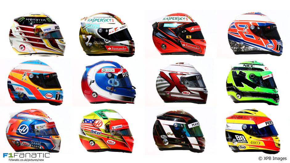 2016 F1 helmets