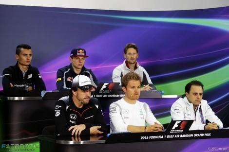 Pascal Wehrlein, Max Verstappen, Romain Grosjean, Fernando Alonso, Nico Rosberg, Felipe Massa, Bahrain International Circuit, 2016