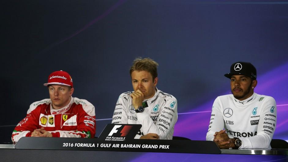 Kimi Raikkonen, Nico Rosberg, Lewis Hamilton, Bahrain International Circuit, 2016