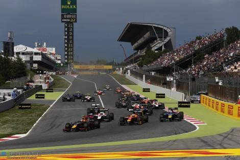 Start, GP2 feature race, Circuit de Catalunya, 2016