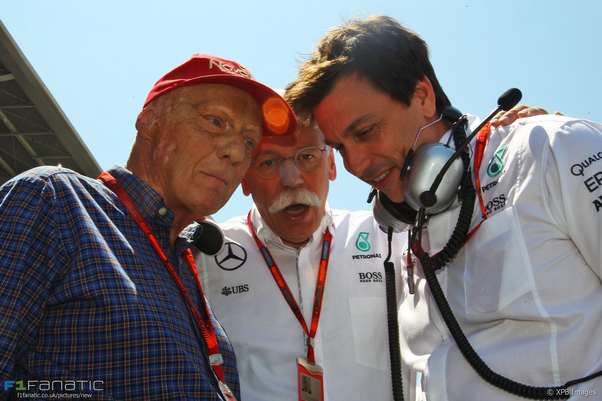 Niki Lauda, Dieter Zetsche, Toto Wolff, Circuit de Catalunya, 2016