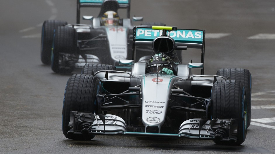 Rosberg showing the strain as Hamilton closes in