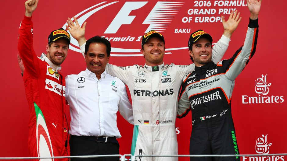 Sebastian Vettel, Nico Rosberg, Sergio Perez, Baku City Circuit, 2016