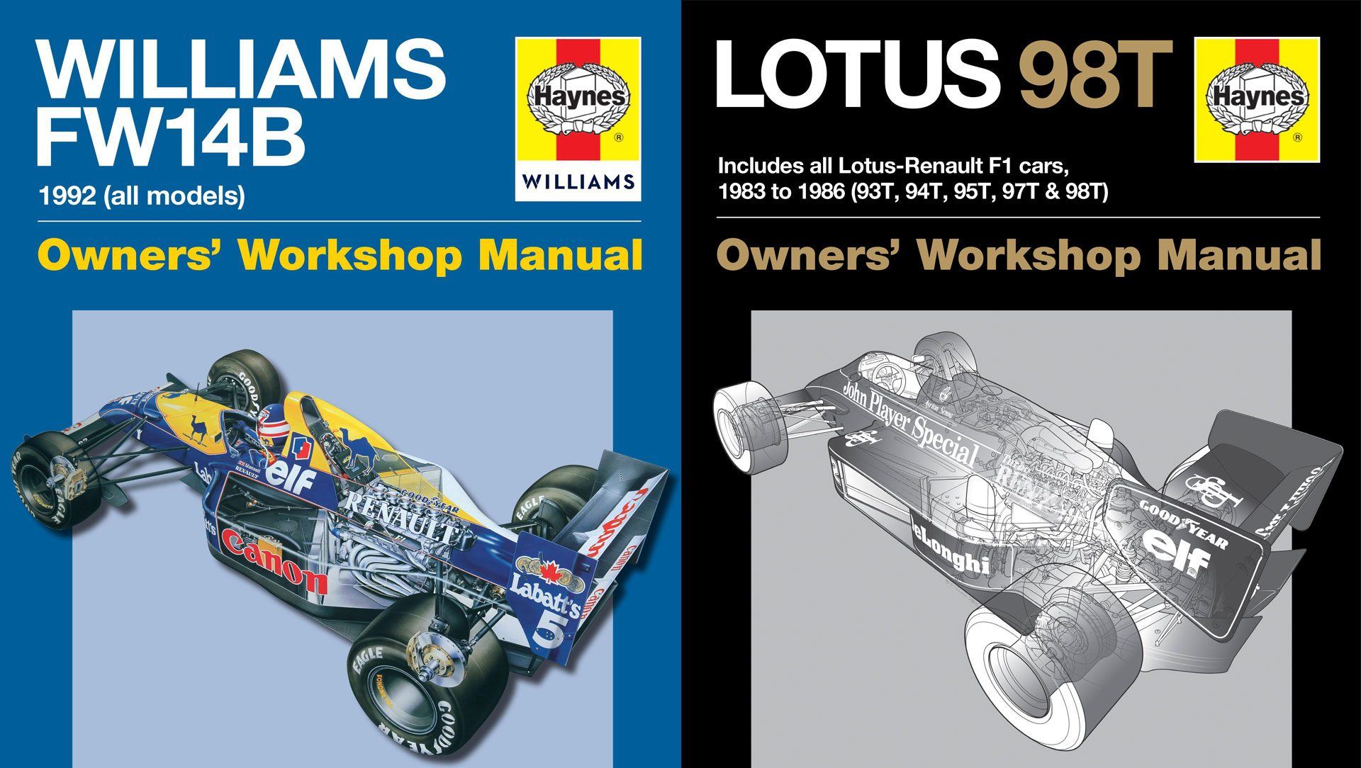 williams fw14b and lotus 98t haynes manuals reviewed f1 fanatic. Black Bedroom Furniture Sets. Home Design Ideas