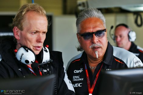 Andrew Green, Vijay Mallya, Force India, Silverstone, 2016