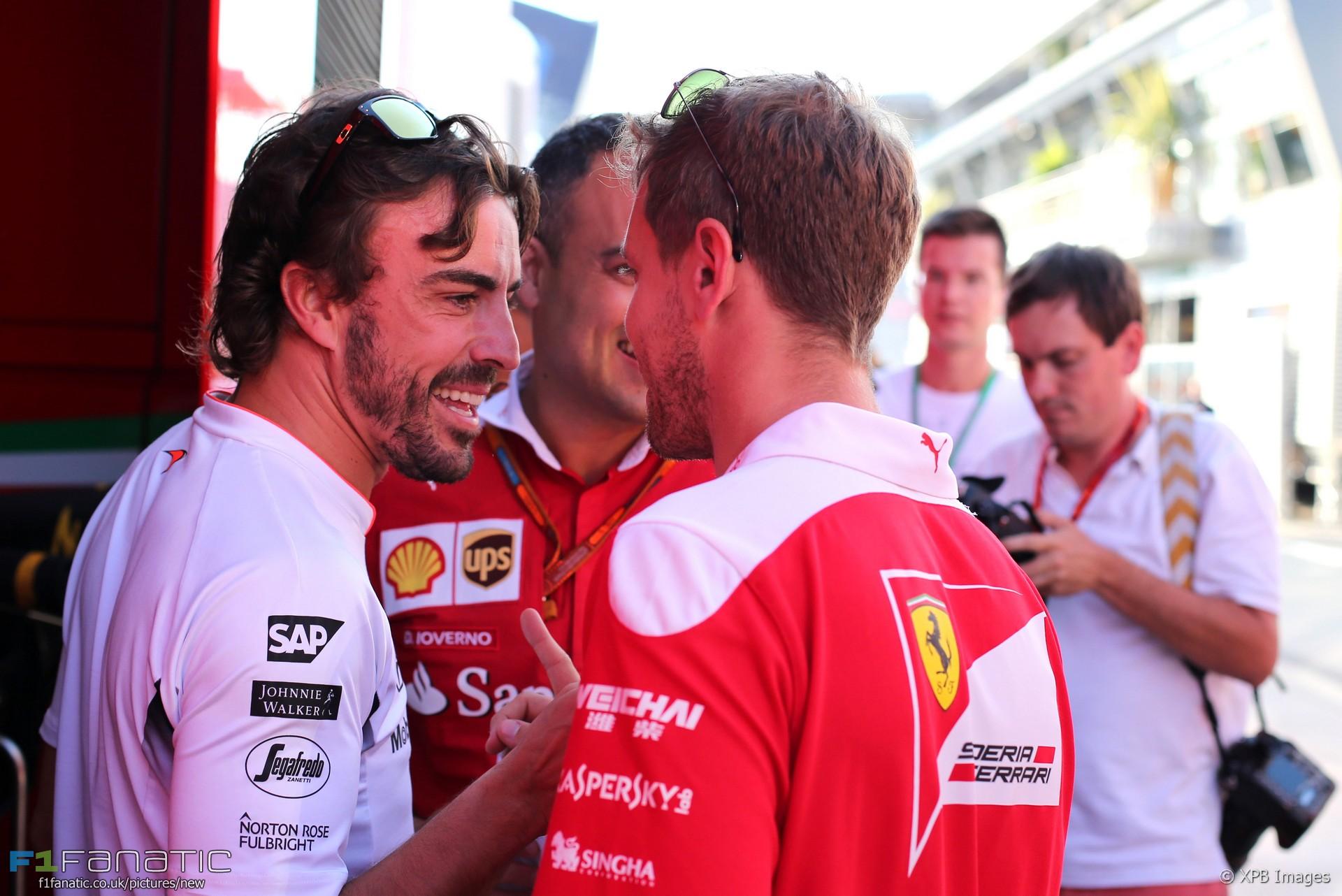 Resultat d'imatges de Vettel y Fernando 2016