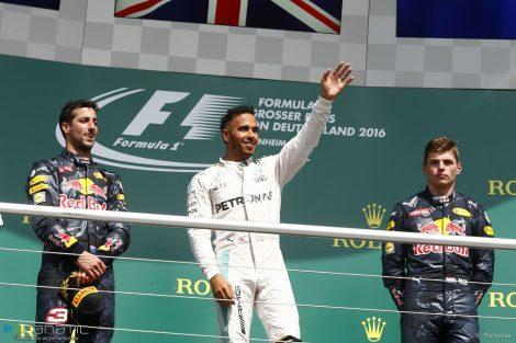 Daniel Ricciardo, Lewis Hamilton, Max Verstappen, Hockenheimring, 2016