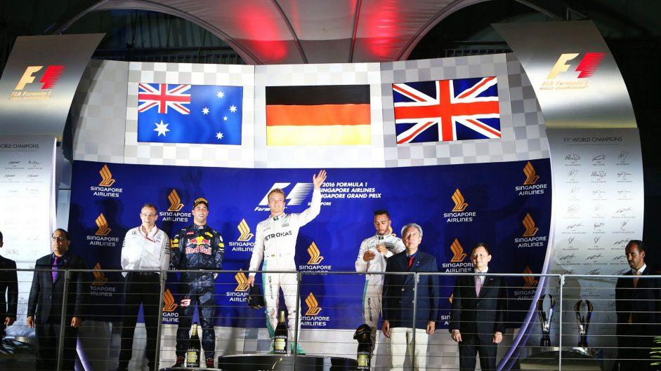 Daniel Ricciardo, Nico Rosberg, Lewis Hamilton, Singapore, 2016