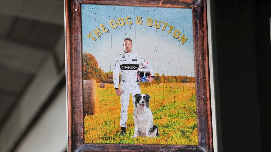 McLaren's motorhome transformed into a pub for Button's 300th race