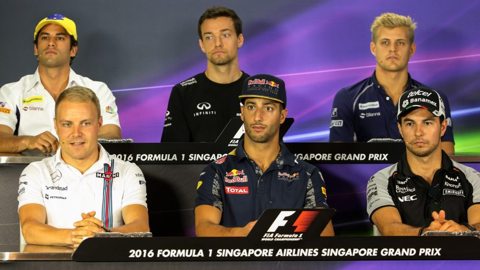 Felipe Nasr, Jolyon Palmer, Marcus Ericsson, Valtteri Bottas, Daniel Ricciardo, Sergio Perez, Singapore, 2016