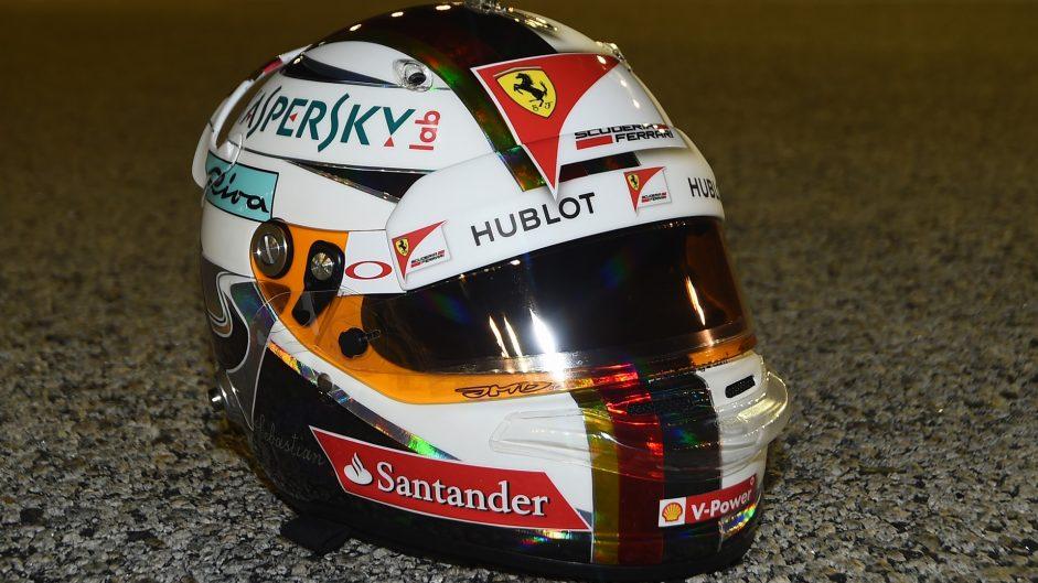Sebastian Vettel's helmet, Ferrari, Singapore, 2016