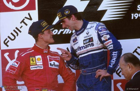 Michael Schumacher, Damon Hill, Suzuka, 1996