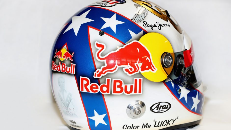 Daniel Ricciardo helmet, Red Bull, Circuit of the Americas, 2016