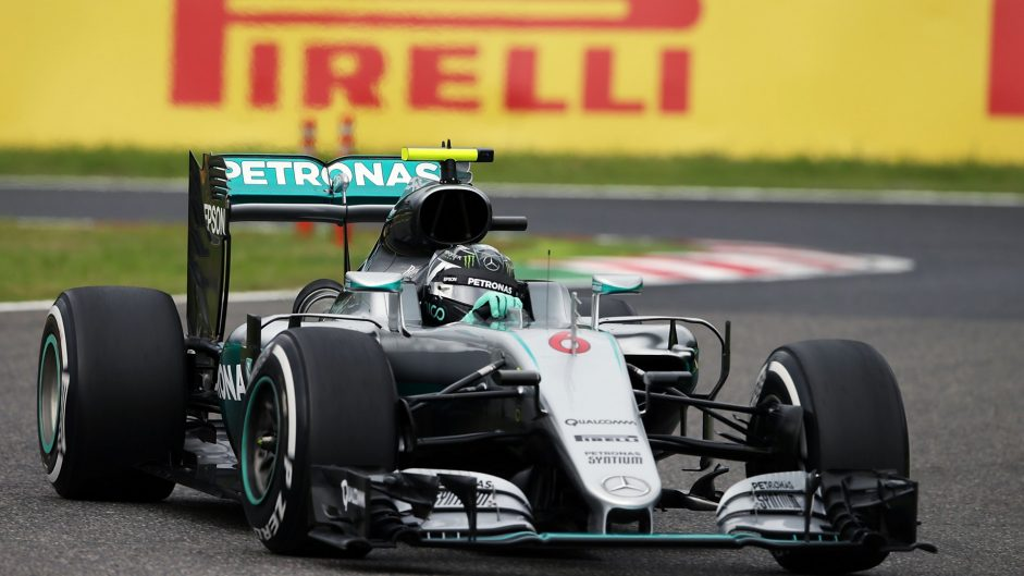 Rosberg completes practice sweep in damp session
