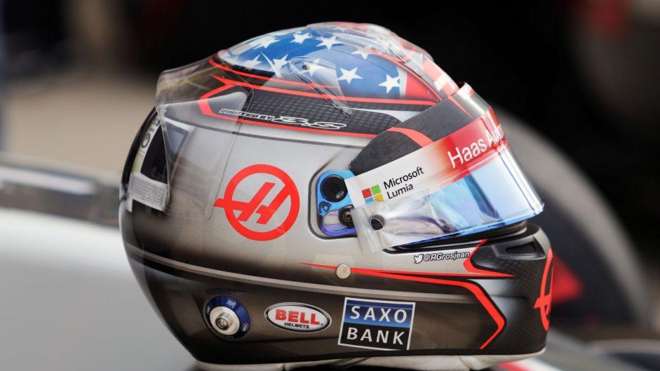 Romain Grosjean's helmet, Haas, Circuit of the Americas, 2016
