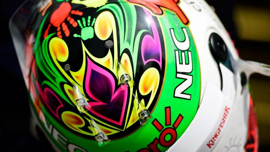 Sergio Perez helmet, Force India, Autodromo Hermanos Rodriguez, 2016
