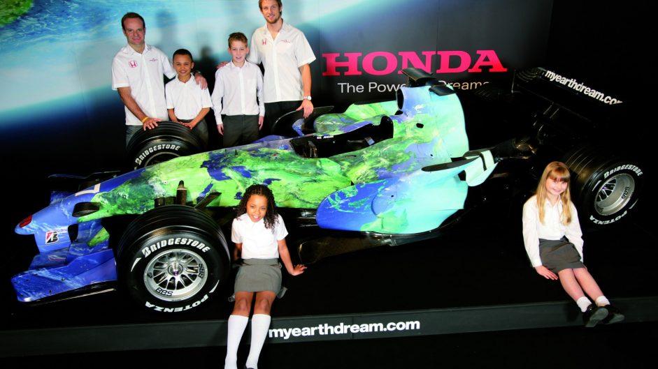 Rubens Barrichello, Jenson Button, Honda RA107 launch, 2007