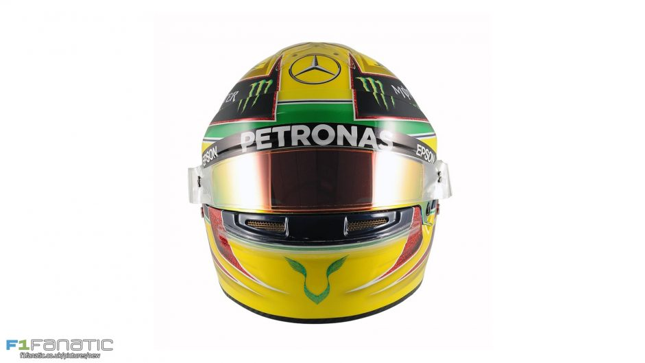 Hamilton using Senna helmet design for Brazil
