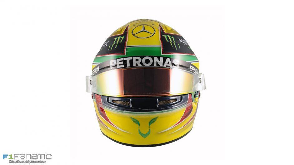 Hamilton using Senna helmet design for Brazil