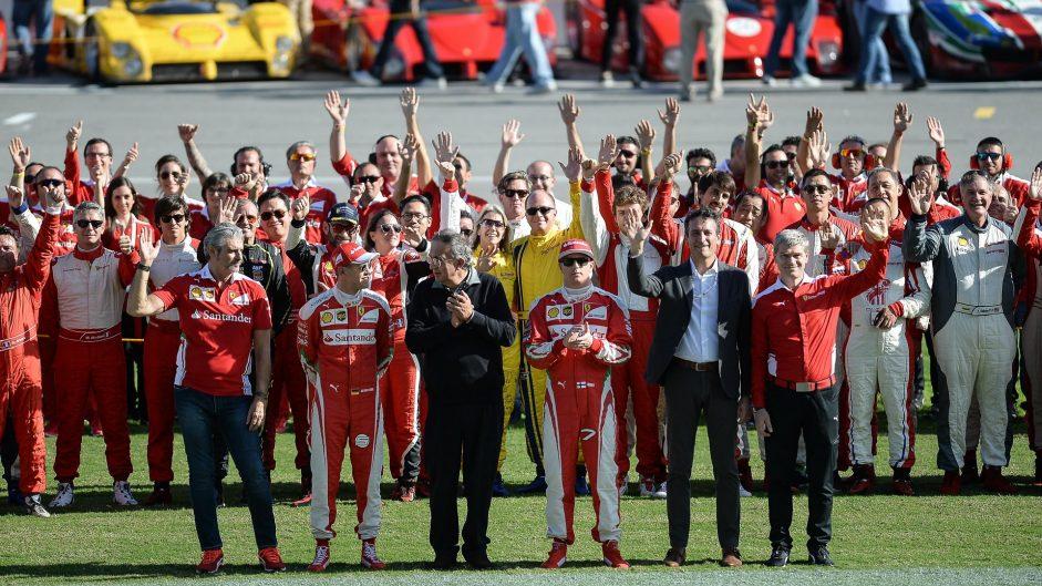 Maurizio Arrivabene, Sebastian Vettel, Sergio Marchionne, Kimi Raikkonen, Ferrari World Finale, 2016