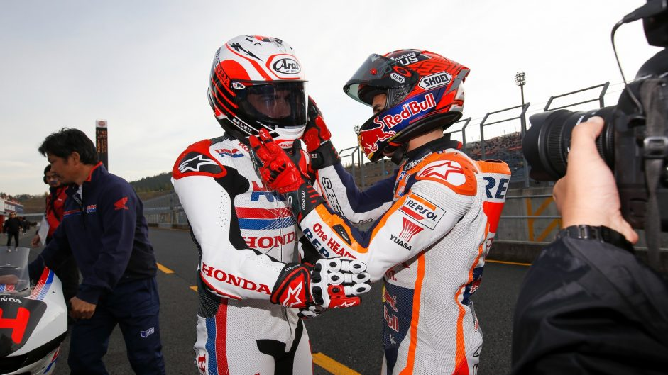 Fernando Alonso, Marc Marquez, Honda Thanks Day, Motegi, 2016