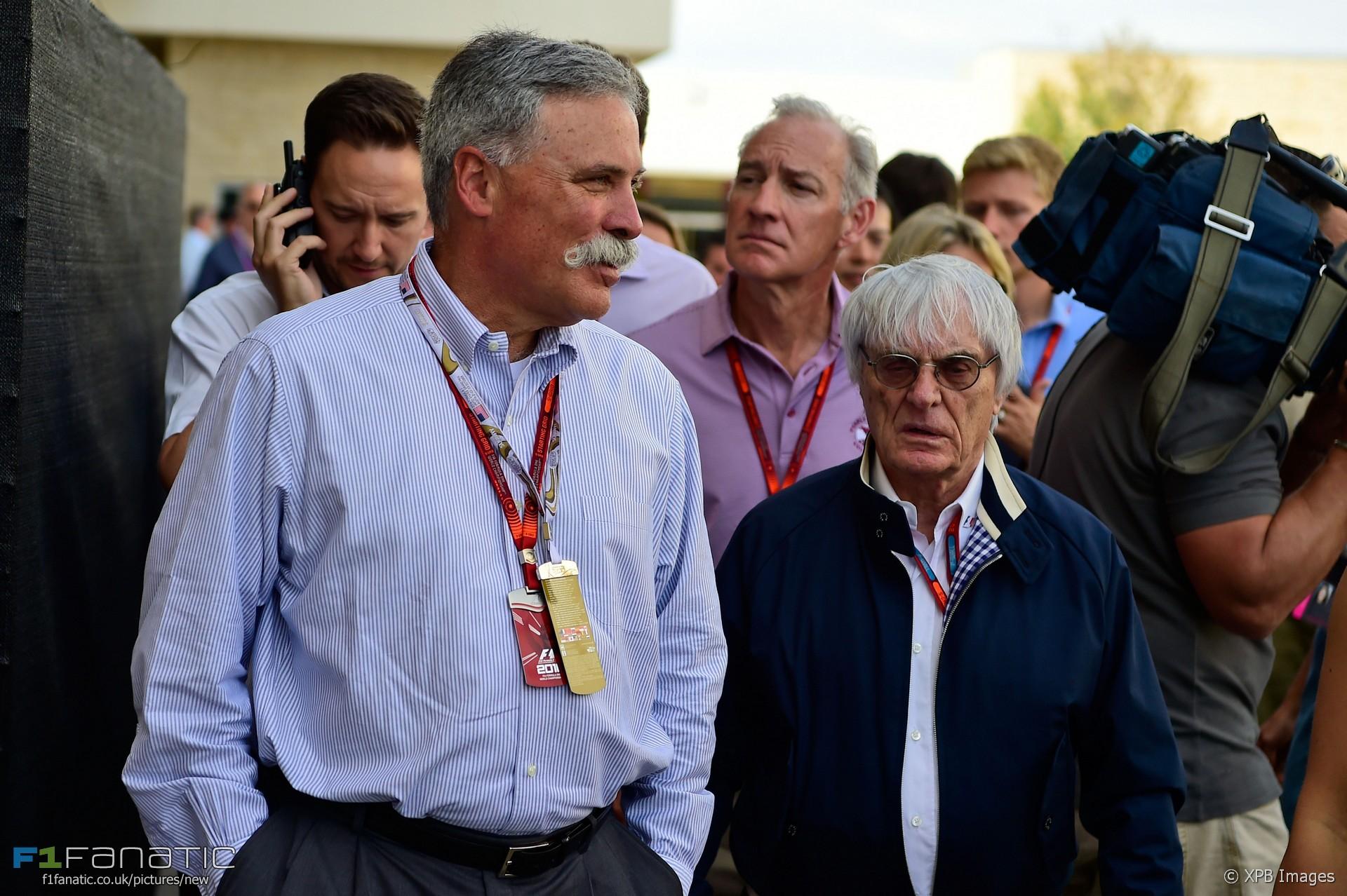 Chase Carey, Bernie Ecclestone, Christian Horner, Circuit of the Americas, 2016