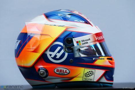 Romain Grosjean helmet, Haas, 2017