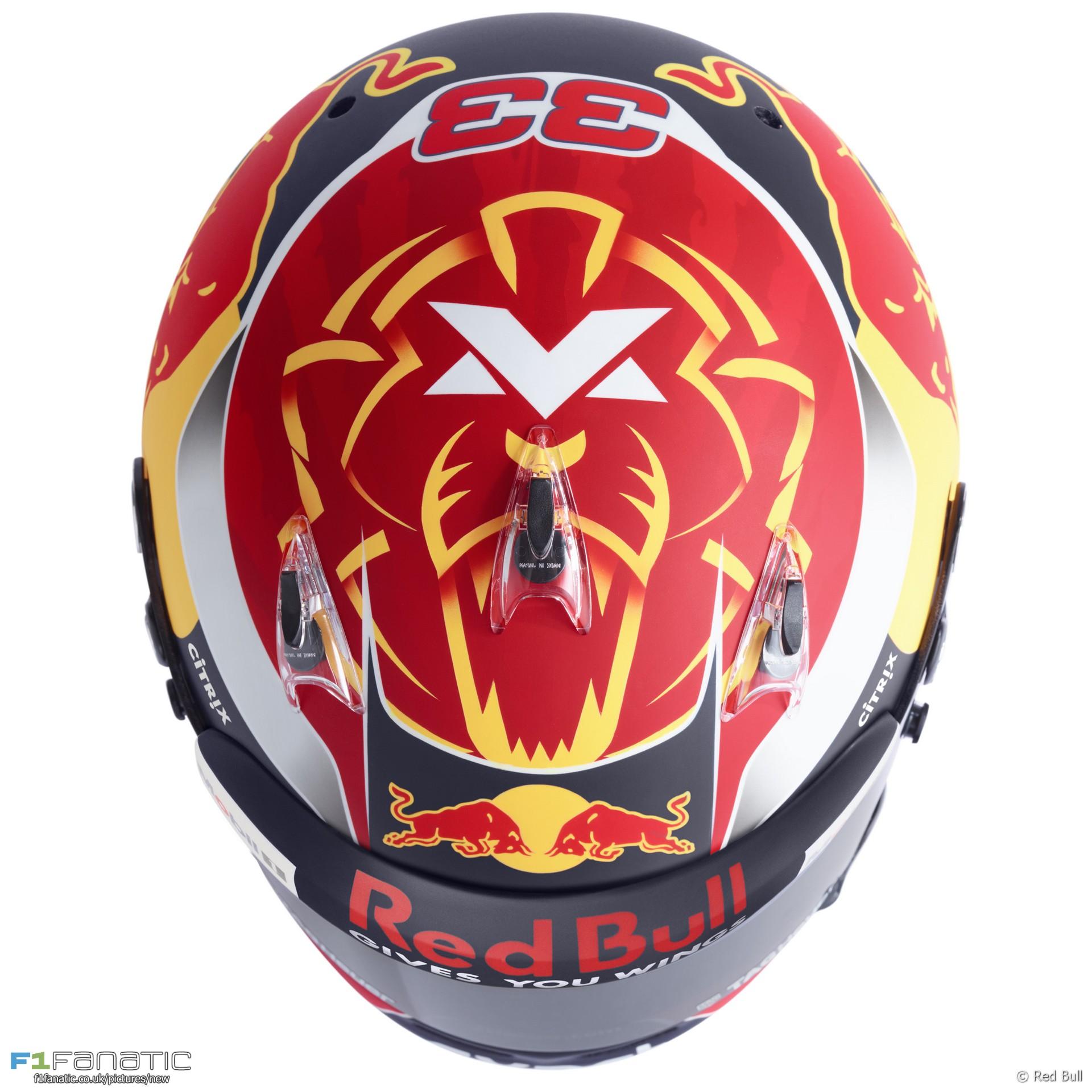 Max Verstappen helmet, Red Bull, 2017
