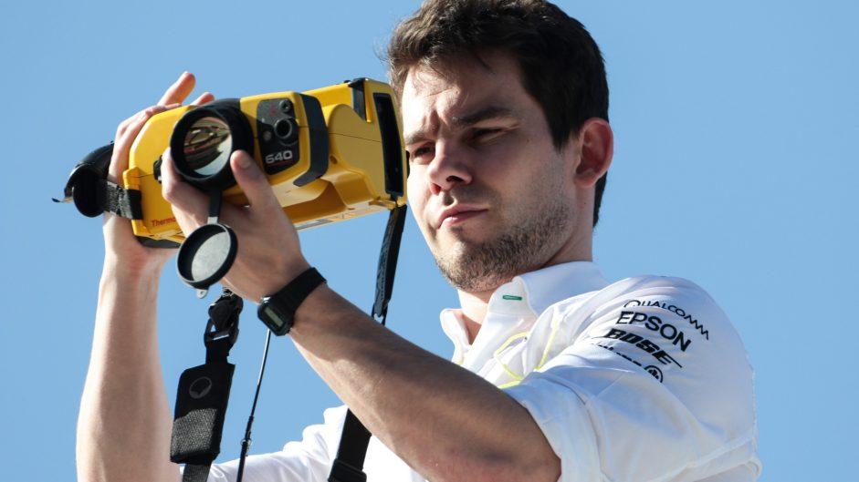 Mercedes team member with thermal imaging camera, Circuit de Catalunya, 2017