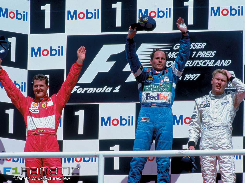 Michael Schumacher, Gerhard Berger, Mika Hakkinen, Hockenheimreing, 1997