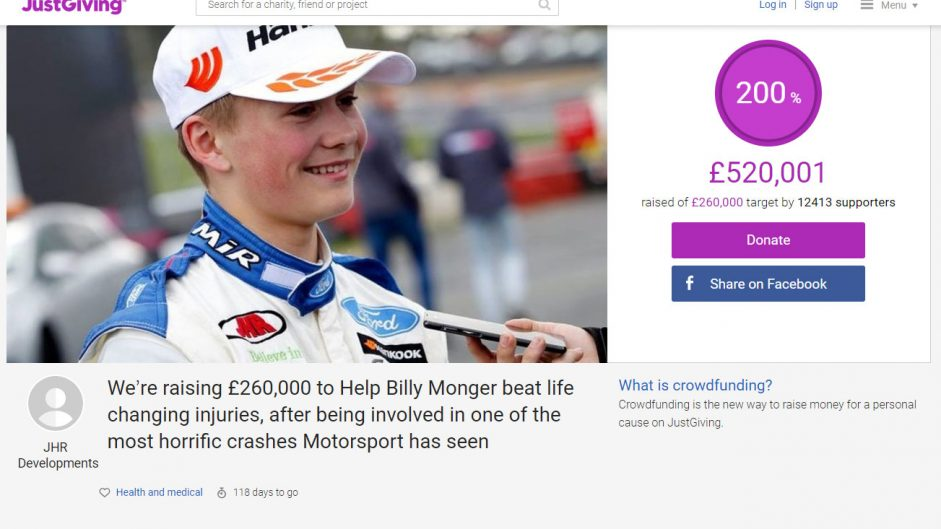 Crowdfund for injured F4 driver Billy Monger raises double its target