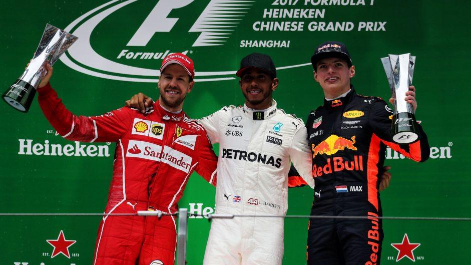 Sebastian Vettel, Lewis Hamilton, Max Verstappen, Shanghai International Circuit, 2017