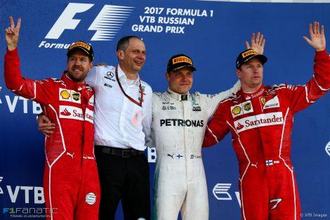 Sebastian Vettel, Valtteri Bottas, Kimi Raikkonen, Sochi Autodrom, 2017