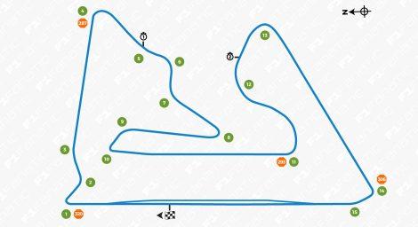 Bahrain International Circuit track map, 2017