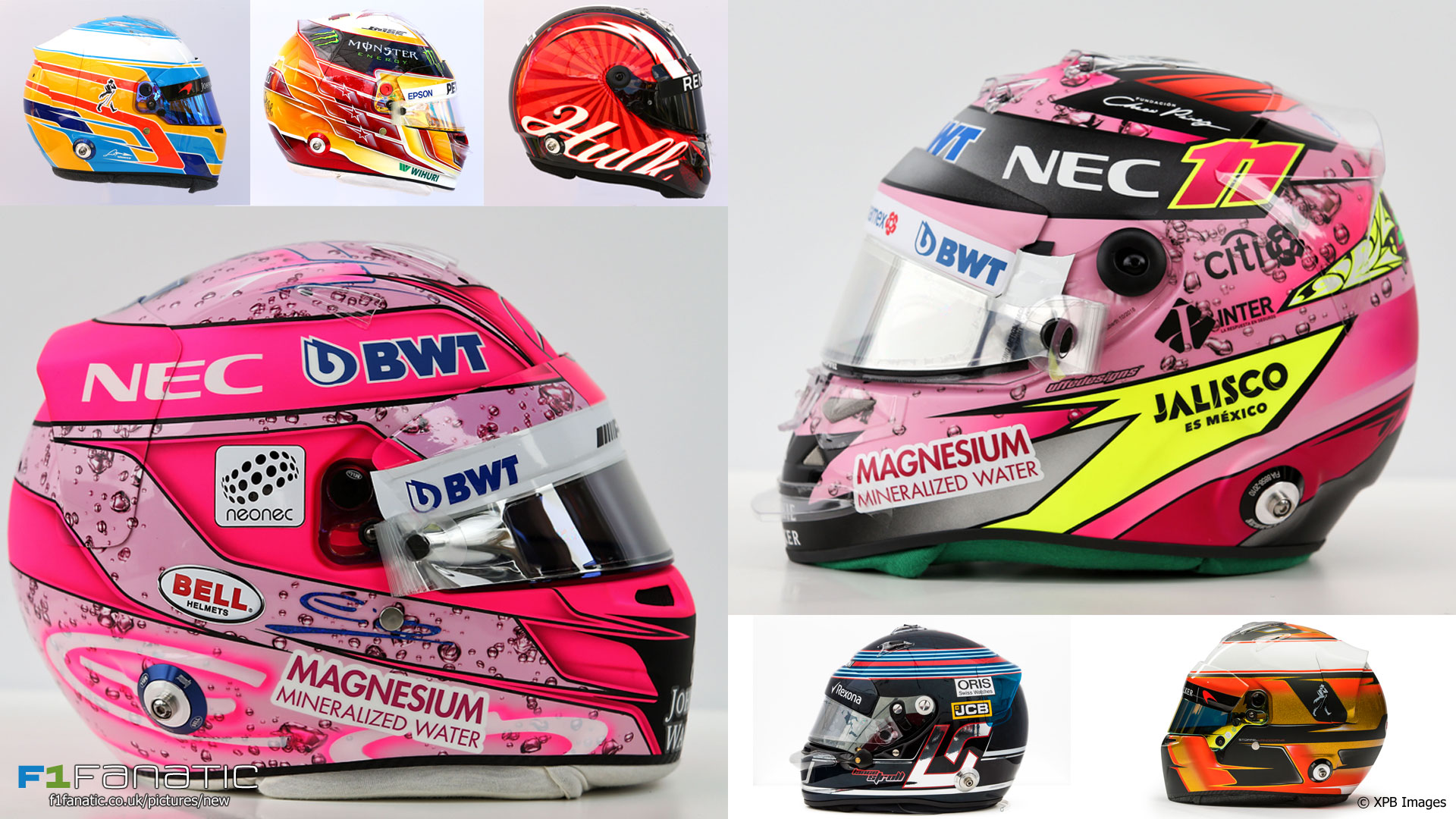 A selection of 2017 F1 drivers' helmets