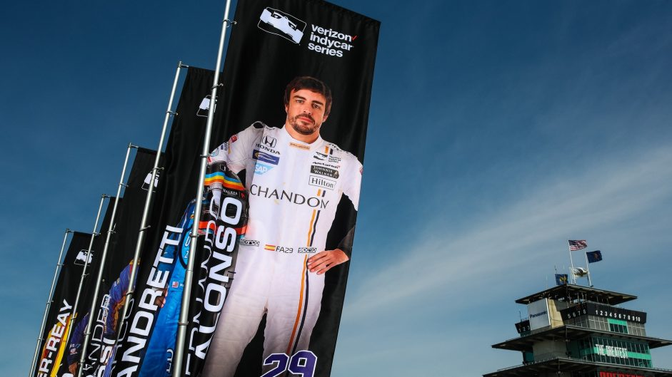 Fernando Alonso billboard, McLaren Andretti, IndyCar, Indianapolis Motor Speedway, 2017